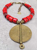 Island Tribal Bold Red Glass and African Brass Shield Pendant Necklace