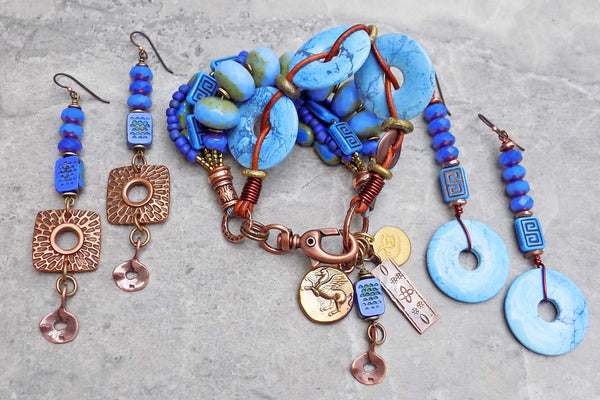 Gorgeous Periwinkle Blue, Violet Purple and Copper Jewelry