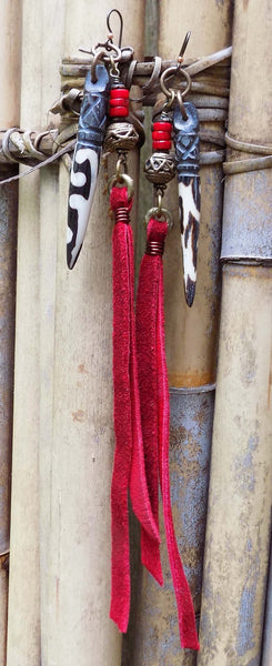 Island Tribal Bold Batik Bone Tusk and Red Leather Fringe Earrings