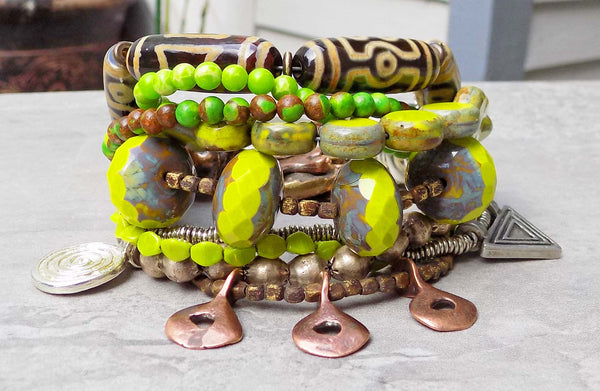 Lime Green Tribal Charm Bracelet