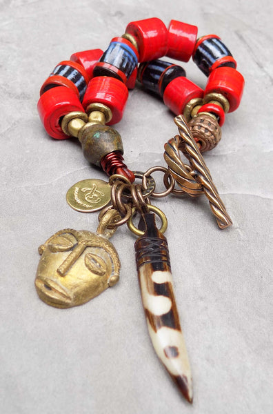 Island Tribal Bold Red Glass and African Brass Mask Charm Bracelet