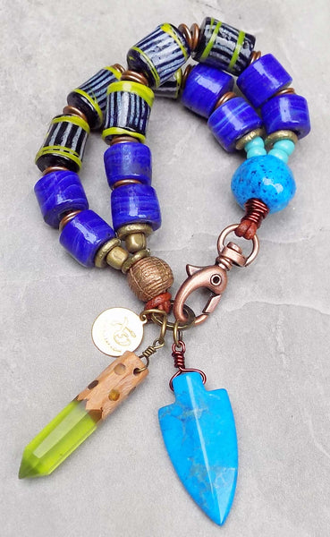 Island Tribal Bold Cobalt Blue, Lime and Turquoise Charm Bracelet