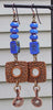 Awesome and Unique Periwinkle Blue, Violet and Copper Dangle Earrings