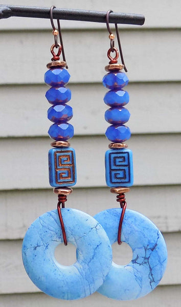 Awesome and Unique Periwinkle Blue, Violet & Copper Disc Earrings