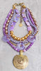 Gorgeous Custom Elegant Lavender and Gold Statement Pendant Necklace