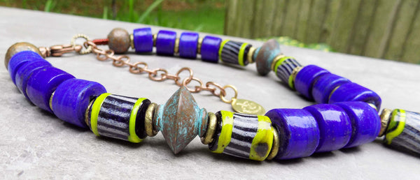 Island Tribal Bold Cobalt Blue, Lime and Turquoise Pendant Necklace