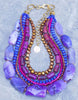 Striking Royal Purple, Fuchsia and Golden Bronze Pearl Statement Necklace