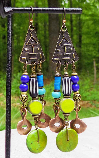 Island Tribal Bold Cobalt Blue, Green and Turquoise Chandelier Earrings