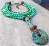 Dramatic Sea Foam, Teal Green and Turquoise Pendant Choker Necklace