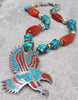 Men's Navajo Inspired Turquoise and Coral Eagle Pendant Necklace