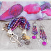 Brilliant Purple, Fuchsia and Silver Statement Bracelet and Chandelier Earrings