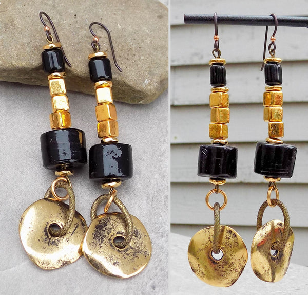 Black Coral & Gold Disc Long Bohemian Dangle Statement Earrings