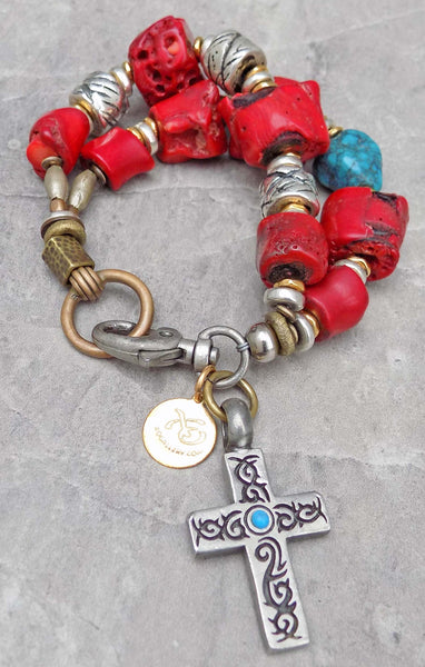 Men's Navajo Inspired Turquoise, Coral and Silver Cross Bracelet