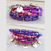 brilliant purple, fuchsia and silver statement bracelet
