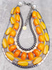 Bold & Dramatic Orange, Yellow, Charcoal and Bone Statement Necklace