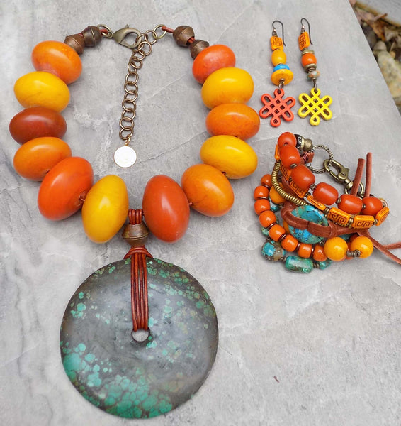 gorgeous bold Tibetan inspired copal amber and turquoise jewelry