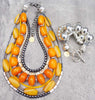 Stunning Orange, Yellow, Bone, Charcoal Necklace and Silver Statement Bracelet