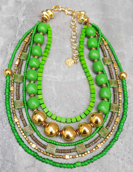 Gorgeous Custom Green and Gold Dramatic Statement Necklace