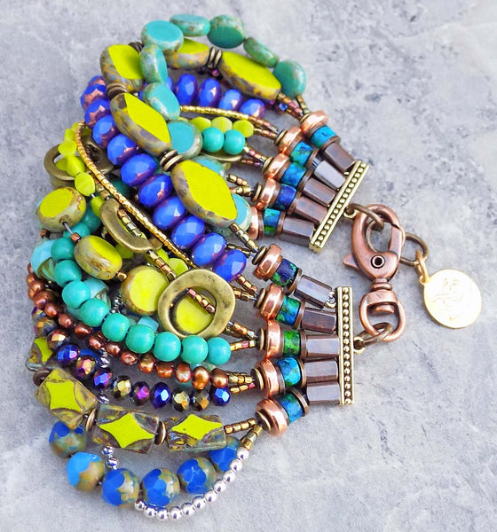 purple, green and blue gypsy bracelet