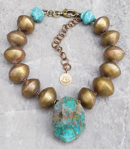 Enchanting and Exotic African Brass and Chrysocolla Stone Collar Necklace