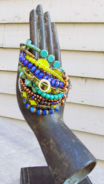 purple, green and blue gypsy style bracelet