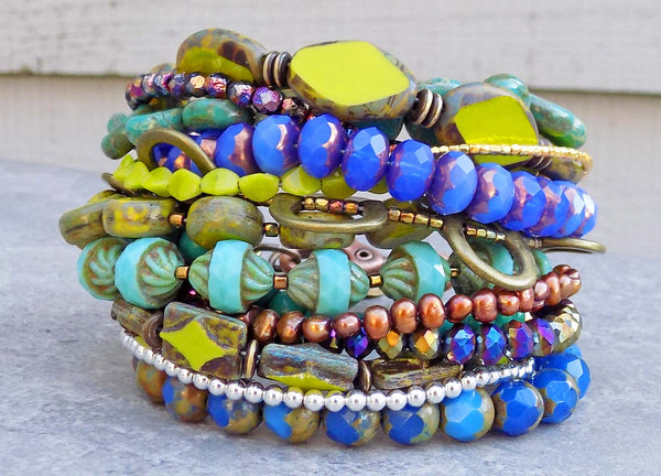 Gorgeous Blue, Green, Purple and Mixed Metals Cuff Statement Bracelet