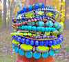 multi-strand purple, green and blue gypsy cuff