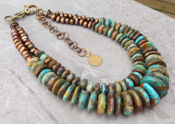 Beautiful Turquoise Disc and Bronze Pearl Statement Choker Necklace