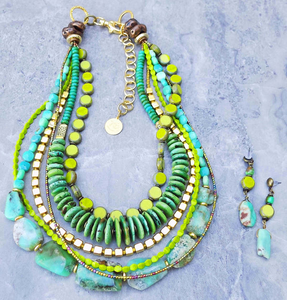 Bold Green Amazonite & Turquoise Statement Necklace & Earrings