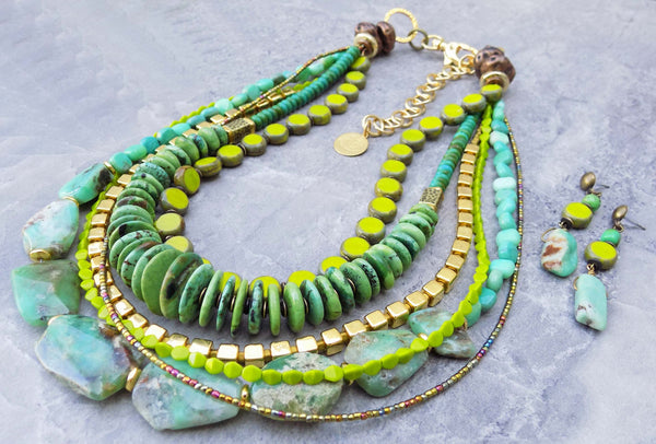 Stunning Amazonite, Chartreuse and Green Turquoise Statement Necklace