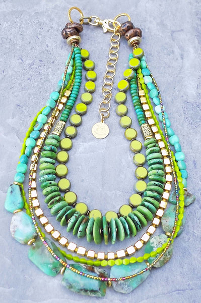 Green Turquoise Wearable Art Necklace