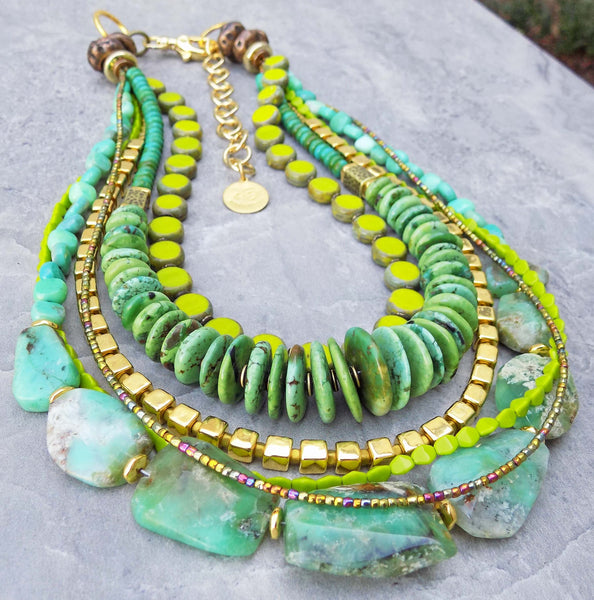 Green Turquoise Lime Gold Statement Necklace