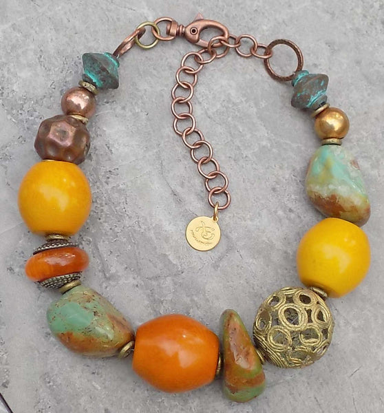 African Inspired Turquoise, Amber & Ornate Brass Ball Choker Necklace