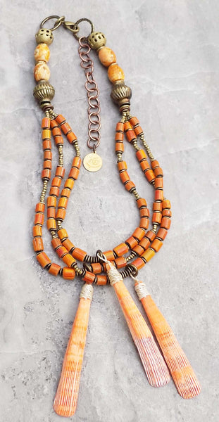 Tibetan Agate, Orange Glass & Lion Paw Shell Warrior Pendant Necklace