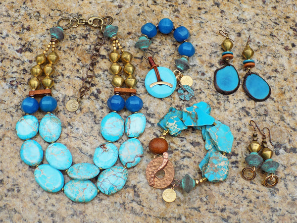 Aqua Blue, Brass and Brown Barrier Reef Jewelry Collection