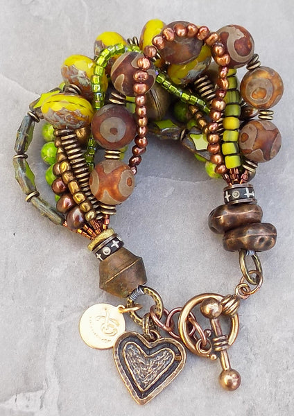 Green, Brown, Copper and Bronze Heart Charm Bracelet