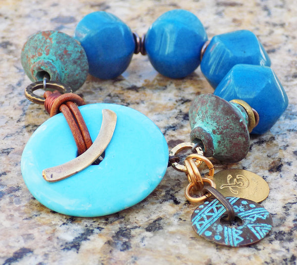 Deep Cerulean Blue Jade, Greek Terra Cotta and Turquoise Disc Bracelet