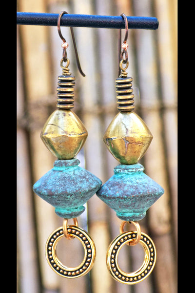 Geometric Design African Brass and Rustic Greek Turquoise Earrings