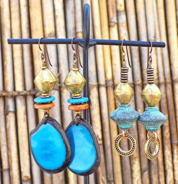 Turquoise, Blue, Brown and Brass Artisan Earrings