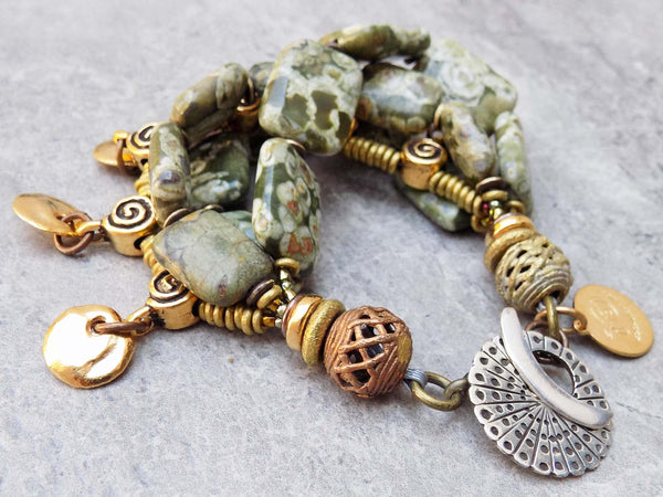 Gorgeous Green Rhyolite Stone Silver & Gold Spiral Coin Charm Bracelet