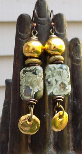 Gorgeous Green Rhyolite Stone & Grecian Gold Coin Dangle Earrings