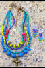 Gorgeous Blue, Chartreuse, Purple and Pink Custom Necklace & Earrings