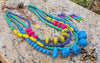 Gorgeous Blue, Chartreuse, Purple and Pink Custom Necklace and Earrings