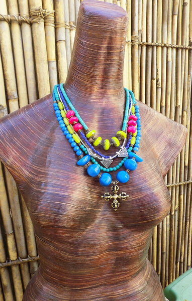 Gorgeous Blue, Chartreuse, Purple and Pink Custom Pendant Necklace