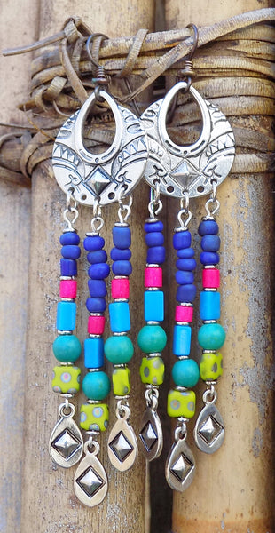 Gorgeous Blue, Chartreuse, Purple and Pink Custom Chandelier Earrings