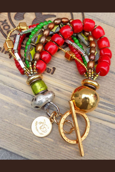 Custom Red Coral, Green Glass and Mixed Metals Christmas Bracelet