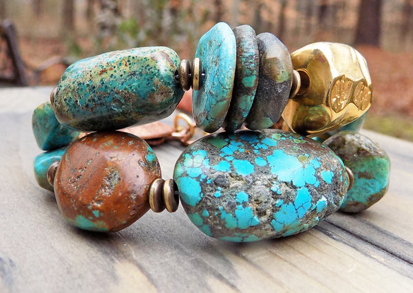 Natural Turquoise Stone, Gold, Copper & Leather Artisan Boho Bracelet