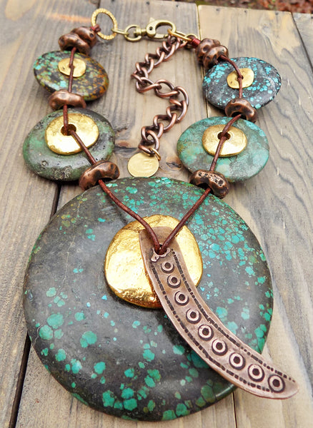Bold & Dramatic Turquoise, Gold and Copper Statement Choker Necklace