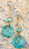 Vintage Look Romanesque Gold Tubes and Blue Glass Disc Earrings