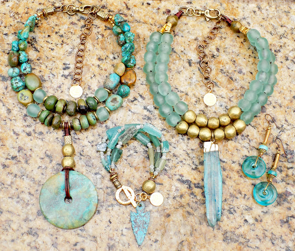 Vintage Look Blue Glass, Turquoise and African Brass Jewelry